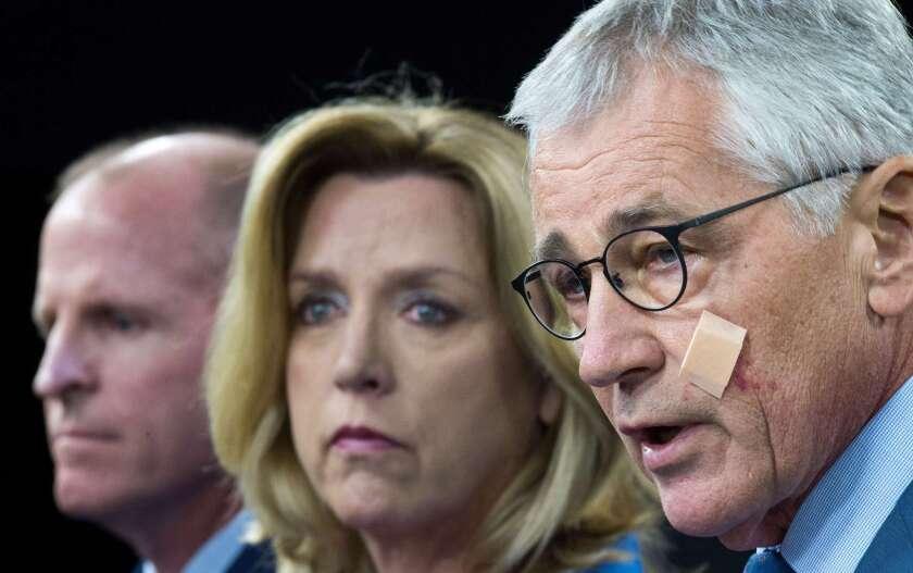 Defense Secretary Chuck Hagel, Secretary of the Air Force Deborah Lee James and Lt. Gen. Stephen Wilson