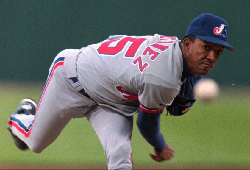 Montreal Expos starter Pedro Martinez delivers a pitch.