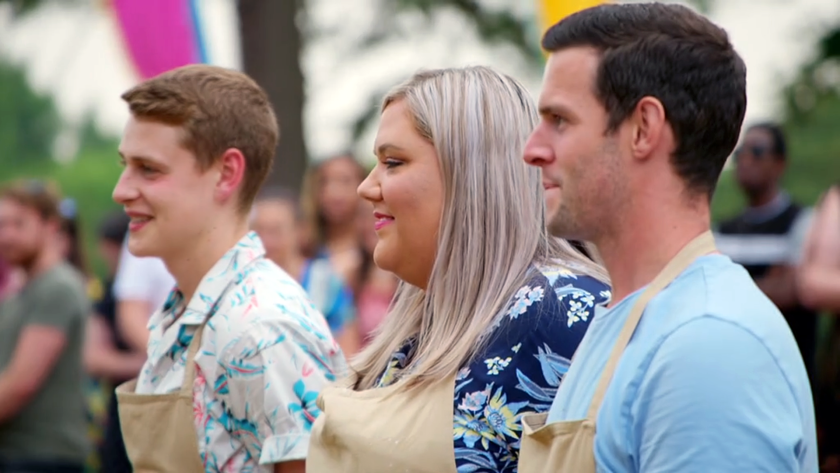 """""""Great British Baking Show"""" finalists Peter Sawkins, left, Laura Adlington and Dave Friday await the judges' decision."""