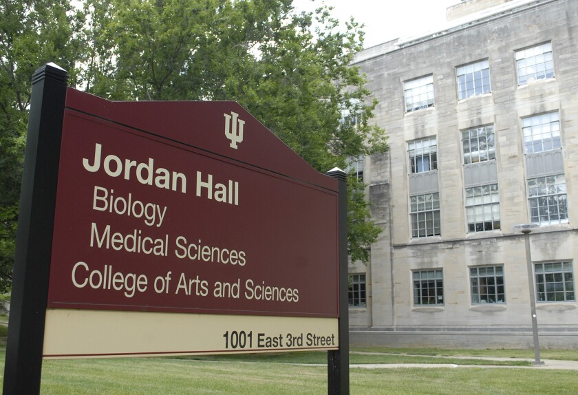 FILE - In this June 16, 2020 file photo shows Jordan Hall on the Indiana University in Bloomington, Ind. A federal appeals court ruling Monday, Aug. 2, 2021, will allow Indiana University to go ahead with its plan for requiring its roughly 90,000 students and 40,000 employees to get COVID-19 vaccination shots.(Stephen Crane/The Herald-Times via AP File)