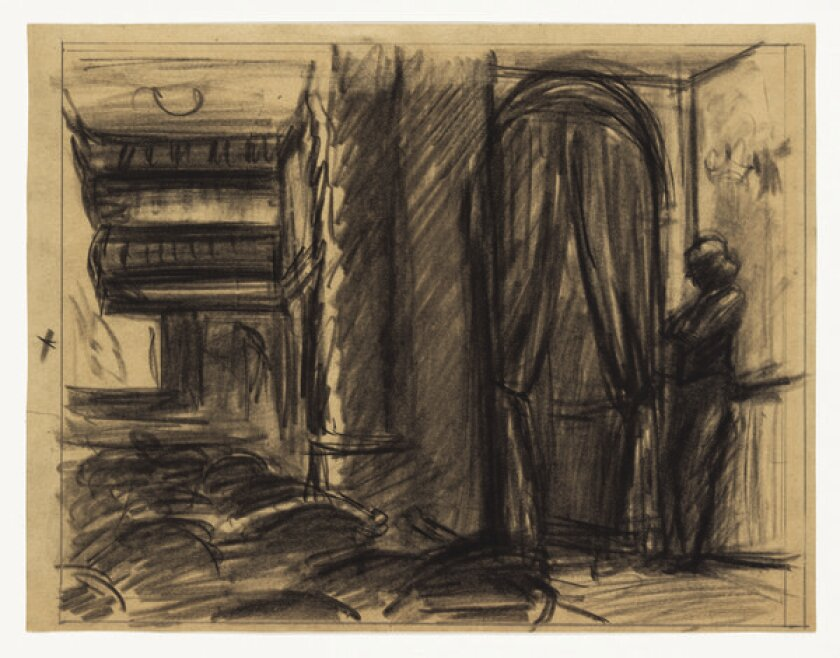 """Edward Hopper """"worked out extensively in drawings,"""" says the Whitney Museum's Carter Foster, including this study for the artist's monumental """"New York Movie."""" """"You could focus on the way he got to his great oil paintings through drawing."""""""