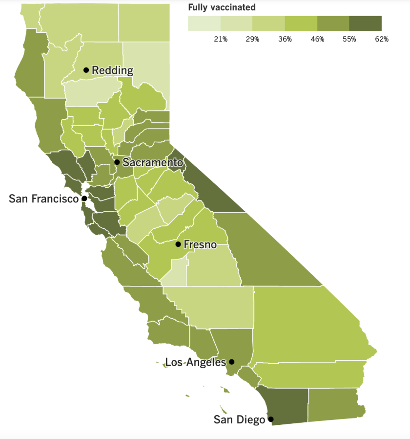 A map of California showing vaccinate rate by county.