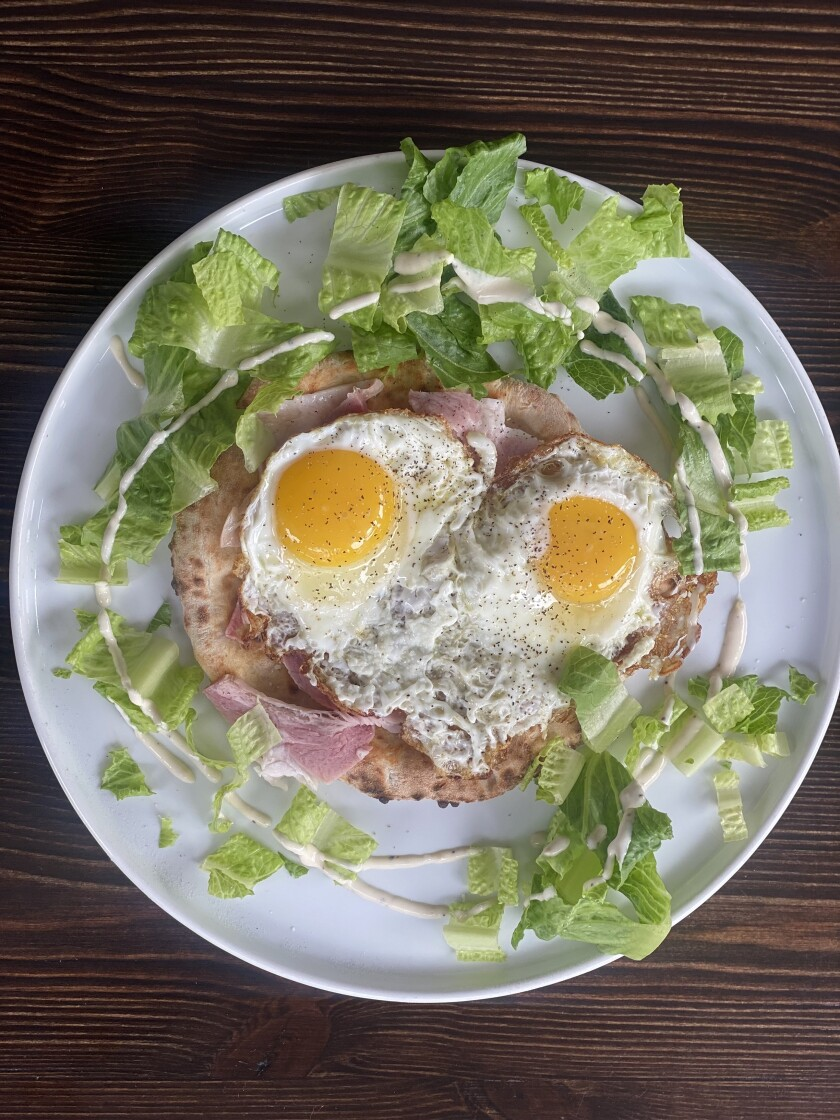 The focaccia bread with ham and two eggs from Scuderie Italia is part of their new brunch menu.