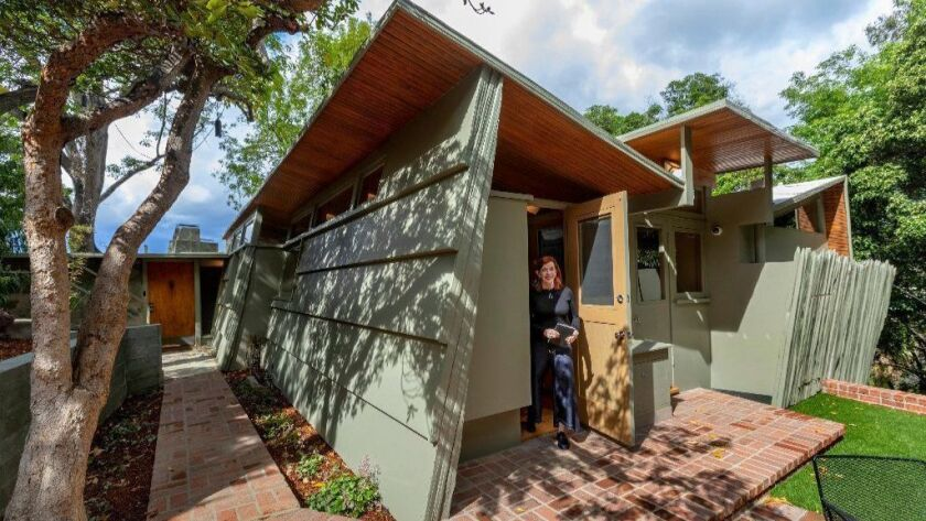 Writer Susan Orlean in her Studio City home, which was designed by the Viennese architect Rudolph Schindler. It is the second Schindler home that Orlean and her husband, John Gillespie Jr., have bought and renovated.