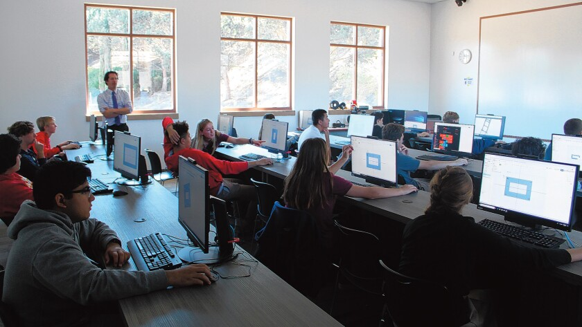 Students at work in the new computer lab at Cathedral Catholic High School in Carmel Valley