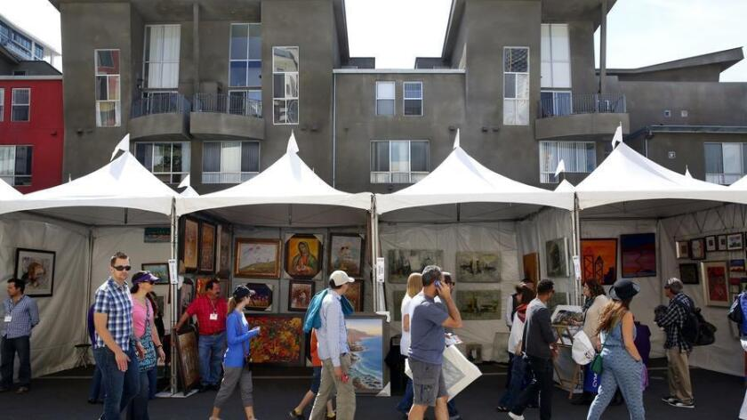 Thousands strolled Little Italy's art filled streets on Sunday during the 2015 Mission Federal ArtWalk. (Nancee E. Lewis)
