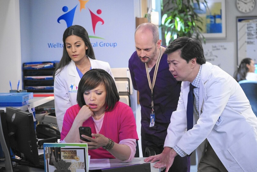 "Kate Simses, left, Tisha Campbell-Martin, Jonathan Slavin and Ken Jeong star in ""Dr. Ken,"" which suffers from a case of unfunniness."