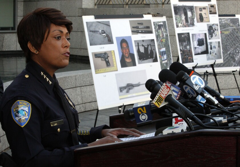 Santa Monica Police Chief Jacqueline Seabrooks shown at a press conference in 2013.