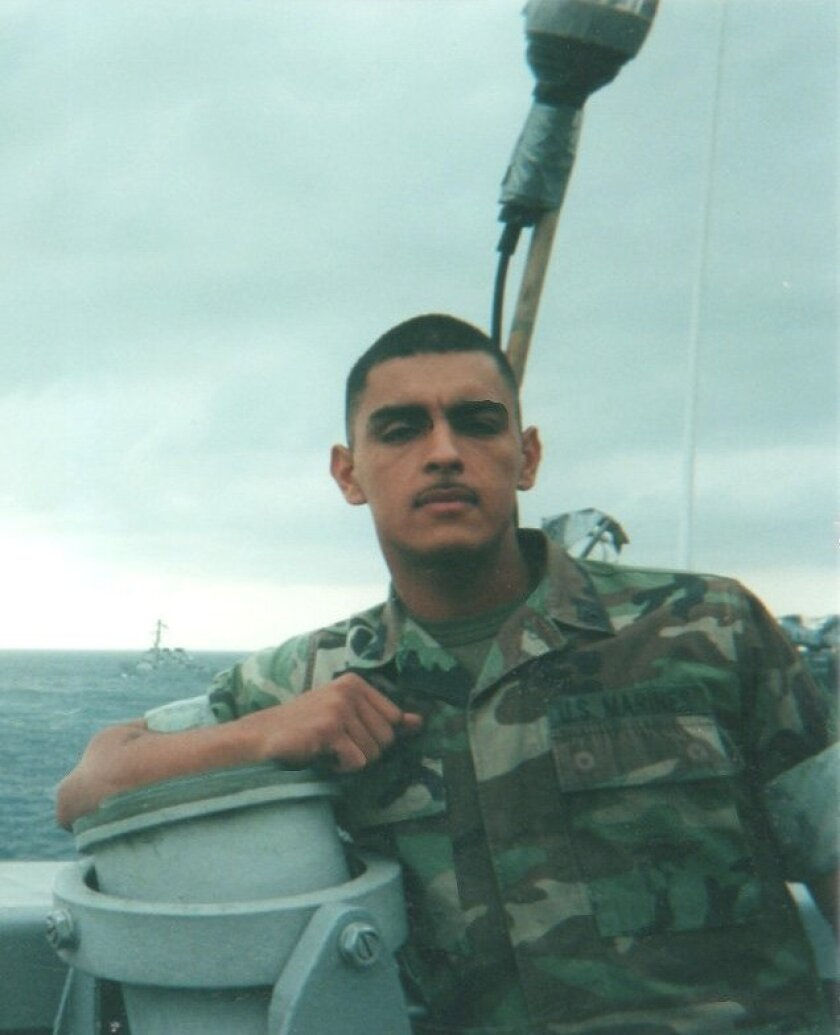 Discharged Marine Armando Telles during his time in uniform.