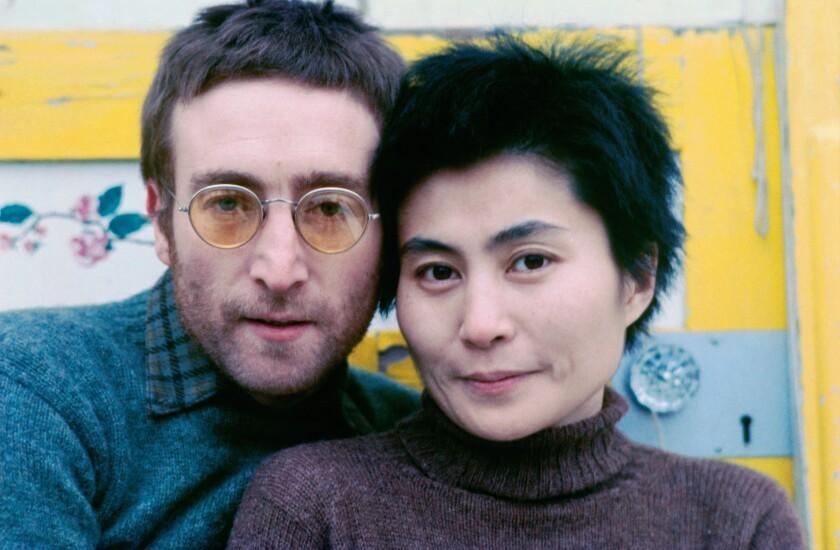 Portrait of John and Yoko in sweaters