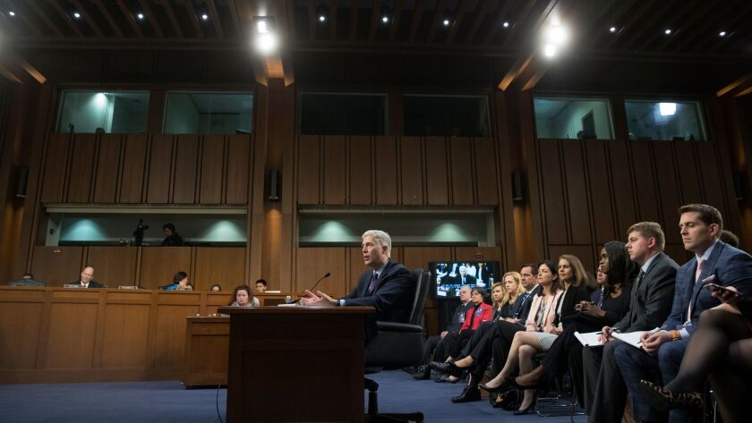 Neil Gorsuch appears before the Senate Judiciary Committee for his nomination to be an associate justice of the Supreme Court, on Capitol Hill on March 21.