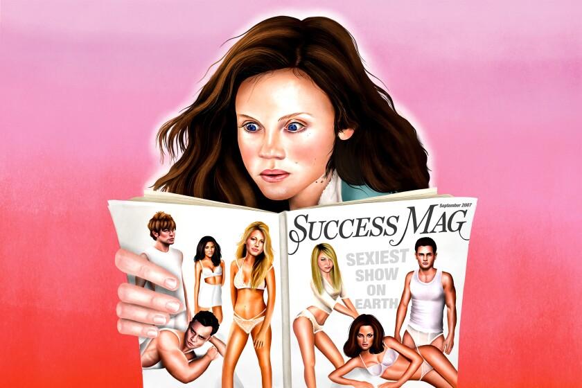 Illustration of Sarah Ramos reading a magazine about Gossip Girl Season 1.