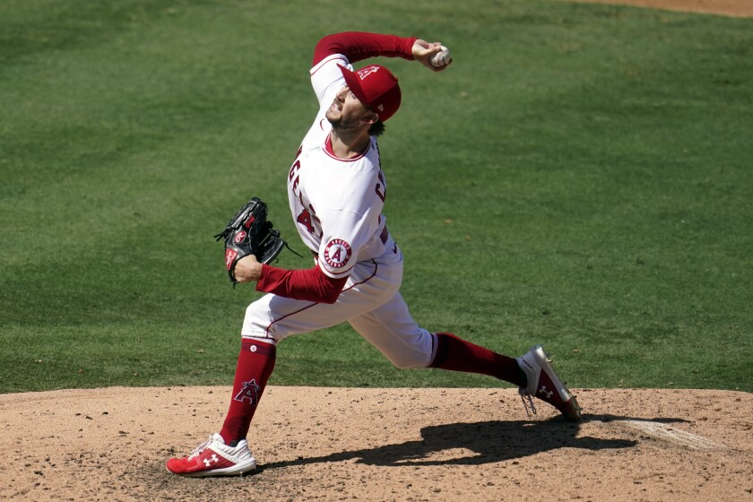 Angels starting pitcher Griffin Canning throws during the fourth inning of a 7-3 win.
