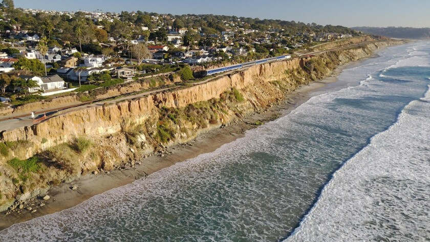 Officials are worried that continuing erosion is putting the train tracks that sit close to the bluffs above Del Mar in jeopardy.