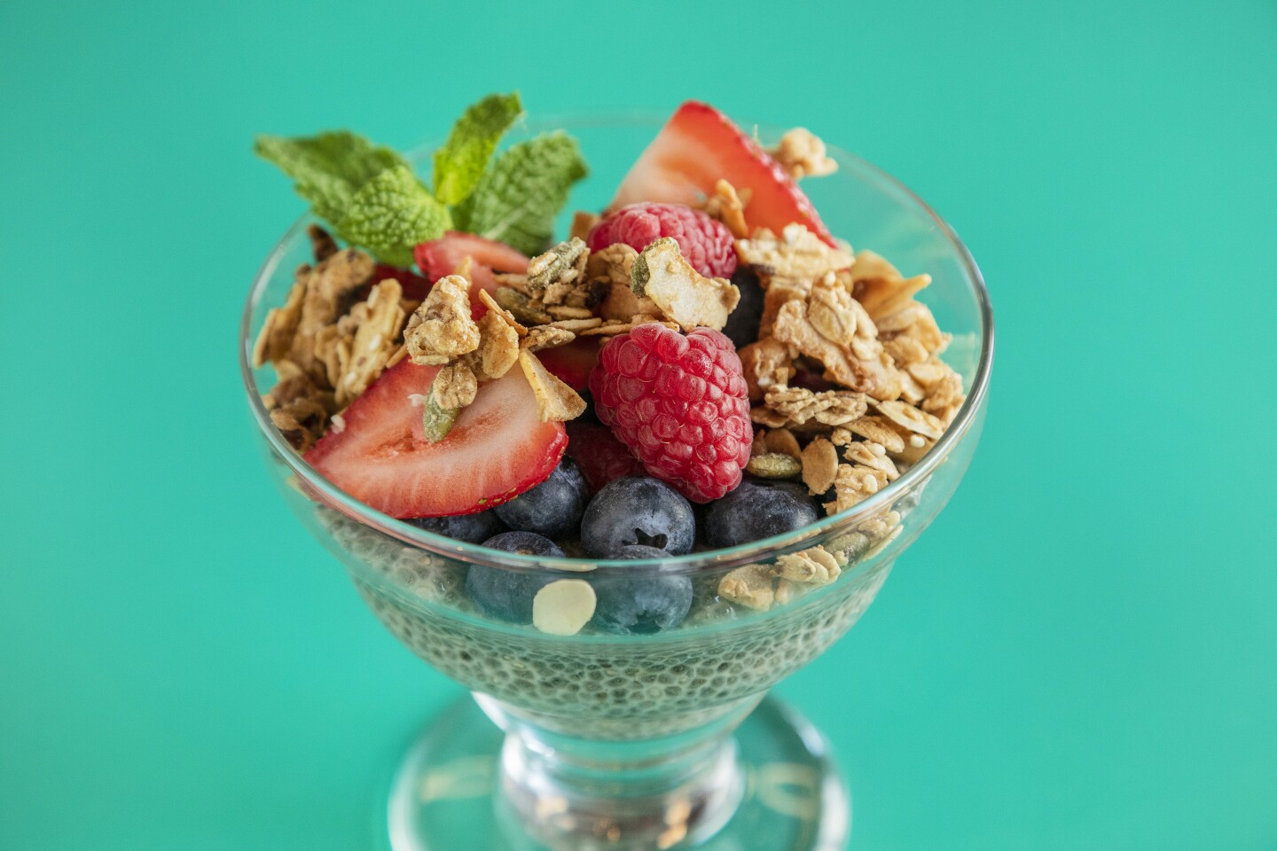 SANTA MONICA, CA - OCTOBER 21, 2019 - Breakfast granola: Sweet housemade granola (smaller bowl) - oat milk yogurt or straus yogurt with chia passion fruit and berries, at Socalo, a soon to be open Mexican restaurant in Santa Monica, October 21, 2019. (Ricardo DeAratanha / Los Angeles Times)