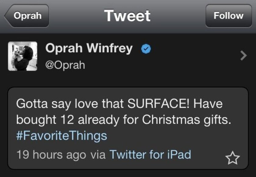 Oprah plugs Microsoft Surface with tweet sent from a rival iPad