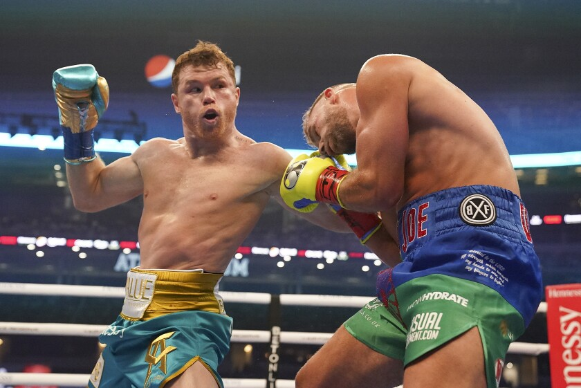 FILE - In this May 8, 2021, file photo, Canelo Alvarez,
