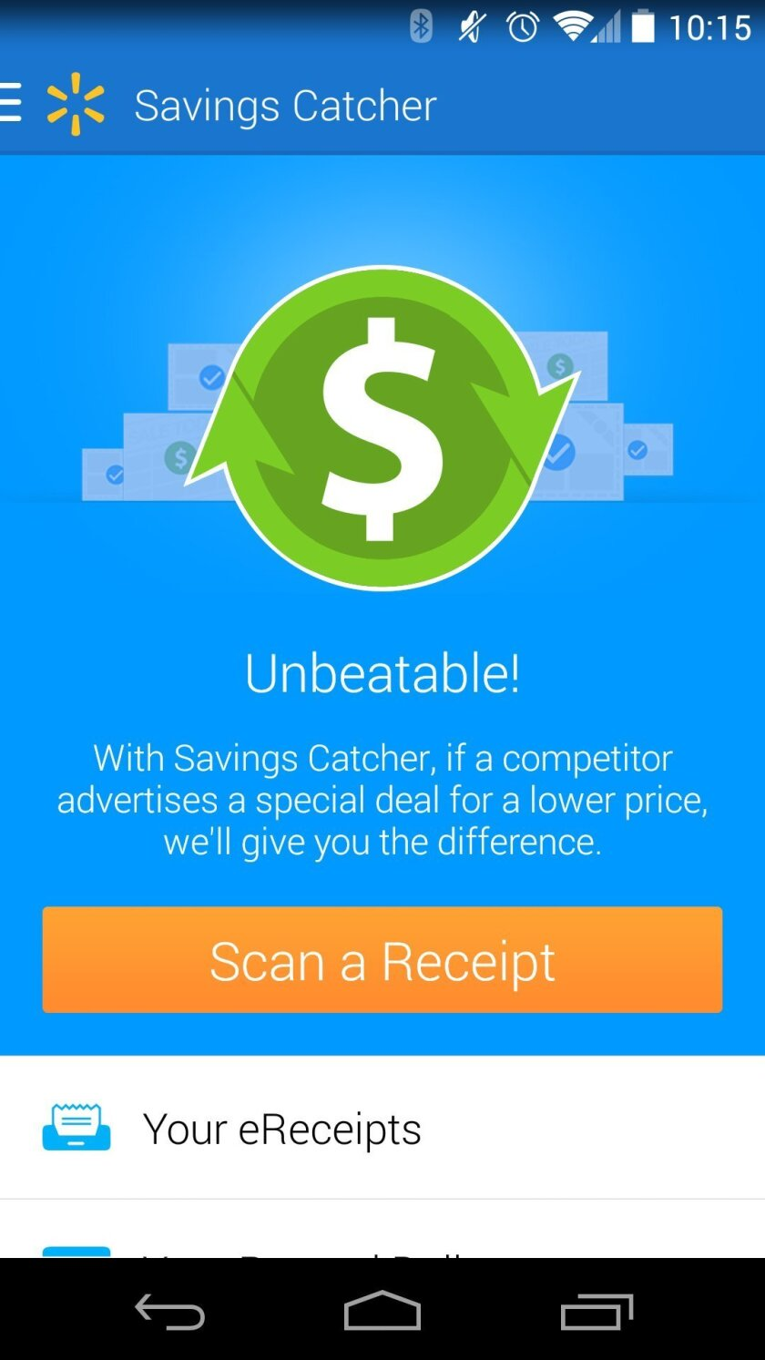 This screen shot shows Wal-Mart's Savings Catcher App. Savings Catcher lets you scan the receipt with your smartphone or type in the receipt number into the app. Then, Wal-Mart compares what you bought with its competitors' sale prices. When it finds a lower price, it lets you put the difference between that price and what you paid on an electronic gift card. (AP Photo)