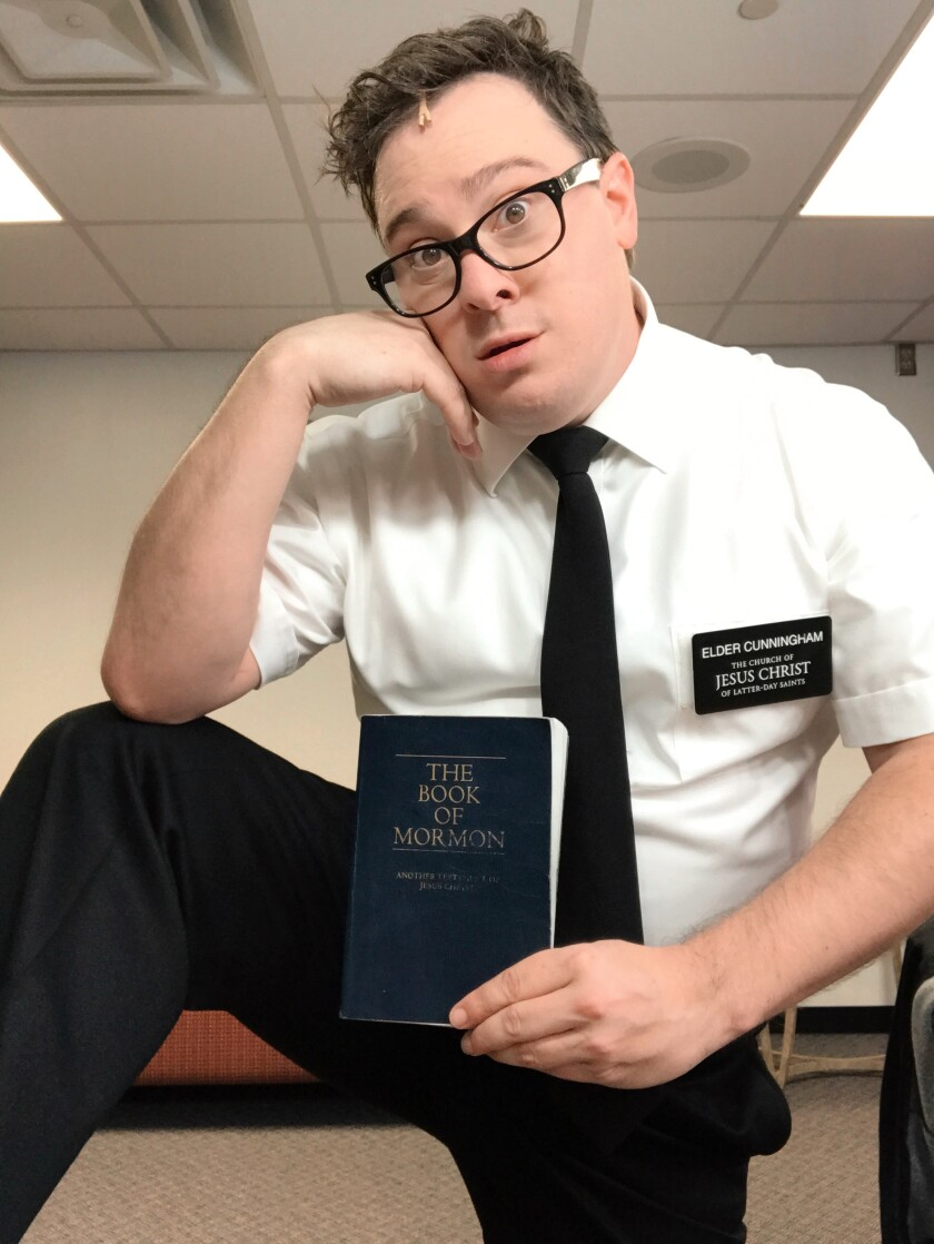 "San Diego actor Jonathan Sangster, a standby in the national tour of ""The Book of Mormon."""