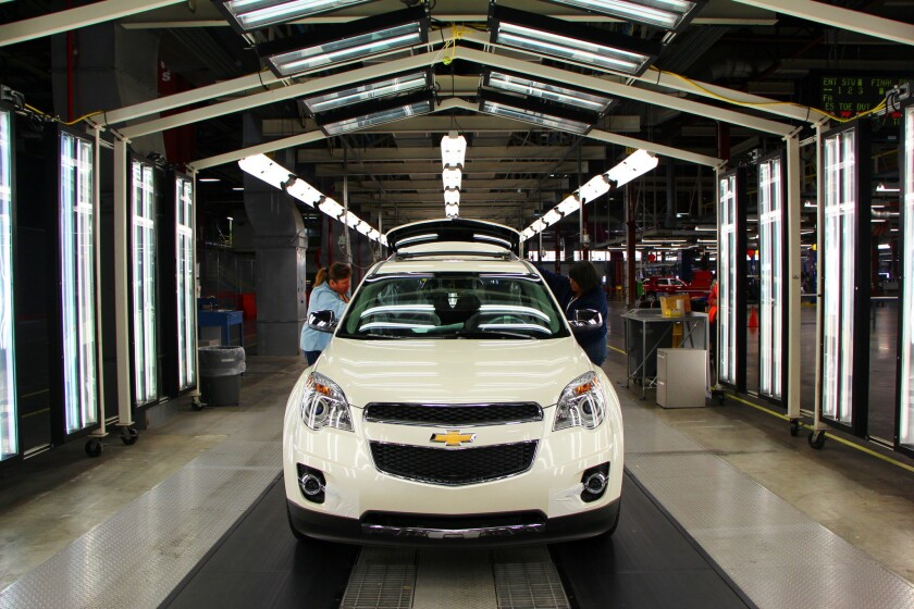 A Chevrolet Equinox rolls off the factory floor at GM's Spring Hill, Tenn., plant