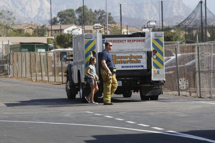 A student was taken to a triage area after a liquid bleach leak at a YMCA pool in Santee affected students and staff at nearby Rio Seco School.