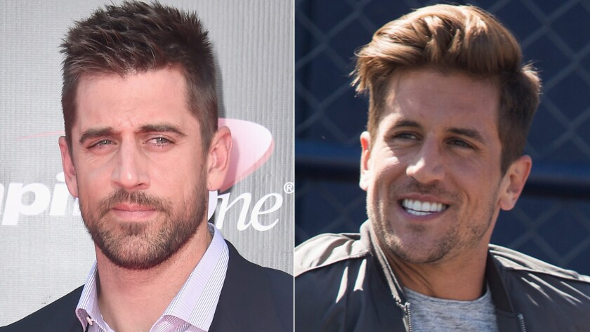"""Aaron Rodgers, left, and Jordan Rodgers. Green Bay Packer Aaron Rodgers commented Tuesday on his younger brother's participation on ABC's """"The Bachelorette."""""""