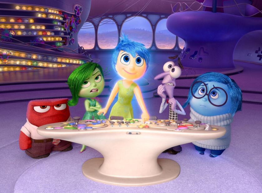 """Inside Out"" scored the second-largest opening in Pixar history. Shown, from left, are the film's characters Anger (voiced by Lewis Black), Disgust (voiced by Mindy Kaling), Joy (voiced by Amy Poehler), Fear (voiced by Bill Hader) and Sadness (voiced by Phyllis Smith)."