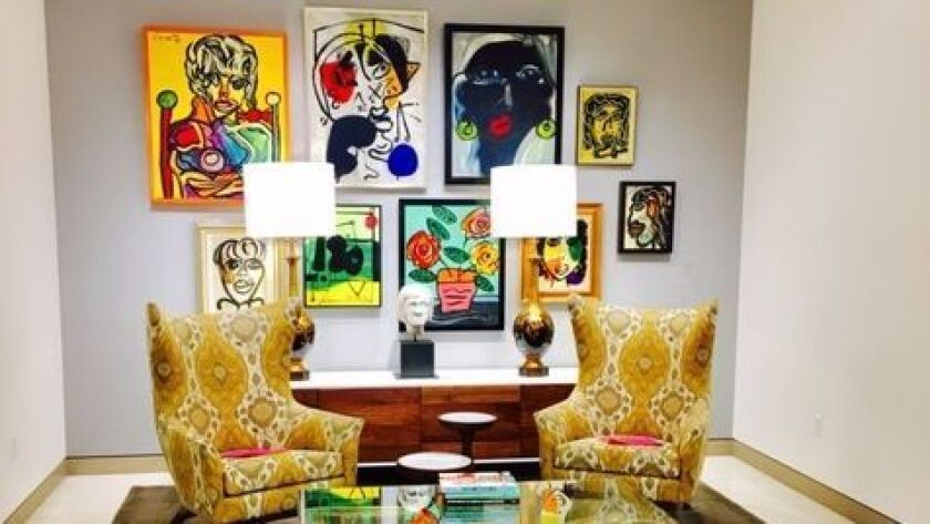 This reception area flanked by two dressing rooms has modern artwork by artist Peter Keil of Berlin,