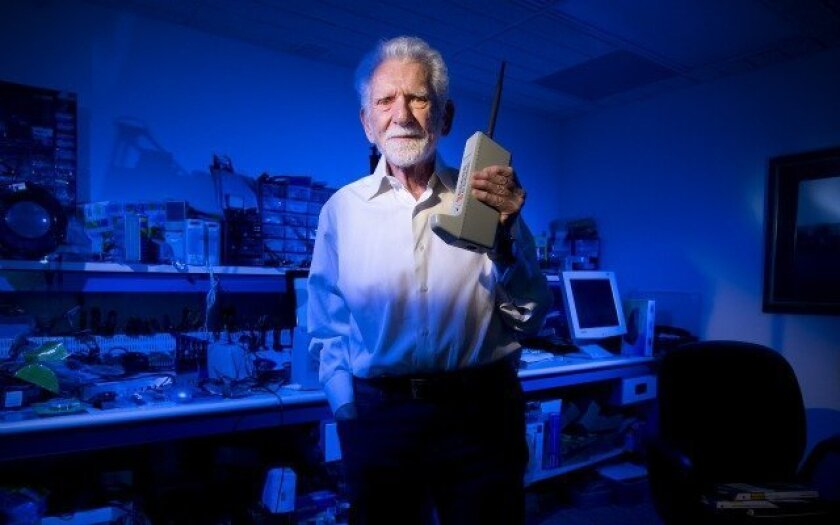 Marty Cooper in his lab in Del Mar. Forty years ago this month, Cooper made the first cell phone call from a handheld device — Nelvin C. Cepeda