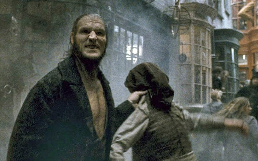 """Dave Legeno as werewolf Fenrir Greyback in """"Harry Potter and the Half-Blood Prince."""""""
