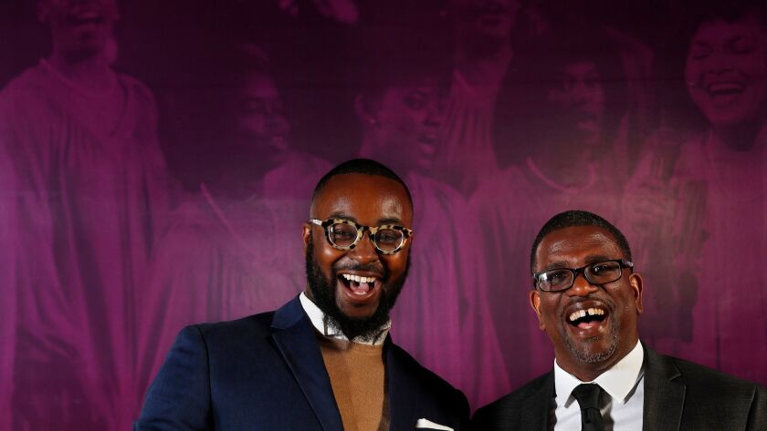 """LOS ANGELES, CA-FEBRUARY 16, 2018: Tyree Boyd-Pates, left, and Daniel Walker, co-curators of """"How"""