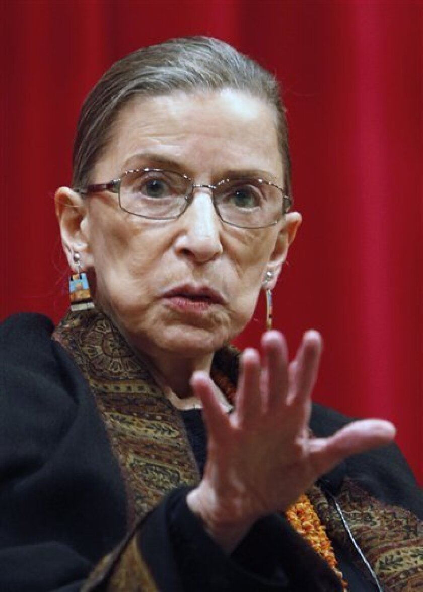 FILE - In this April 10, 2009 file photo, Supreme Court Justice Ruth Bader Ginsburg speaks to law students at Ohio State University in Columbus, Ohio. Ginsburg was hospitalized, Thursday, Sept. 24, 2009, after feeling ill at work (AP Photo/Kiichiro Sato, FILE)