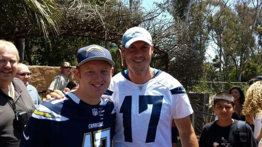 "Casey Gardner tweeted a picture with Chargers QB Philip Rivers Monday, writing, ""My life is friggin made!"""