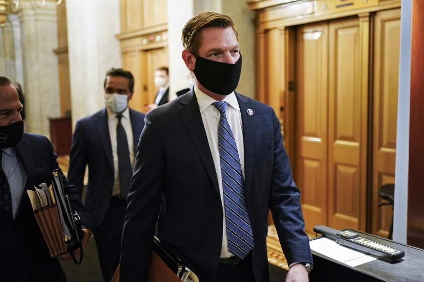 Rep. Eric Swalwell walks through the Capitol