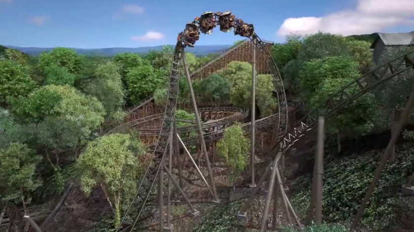 The coaster races down the face of a hillside at 50 mph into a dive loop inversion.