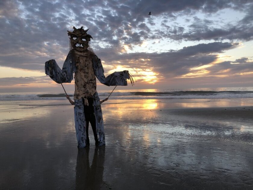 Carmel Valley resident Jacob Surovsky built a giant puppet for Halloween night.