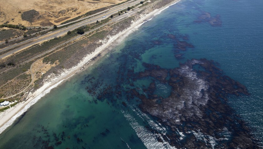 The oil spill off the Santa Barbara County coast in May fouls the waters and a kelp forest.