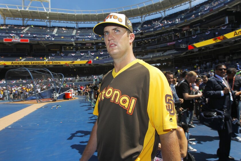 Padres Drew Pomeranz walks to the field for All-Star Game practice at Petco Park.