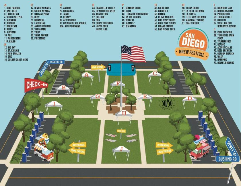Event map showcasing where each brewery will be located at the festival (San Diego Brew Fest)