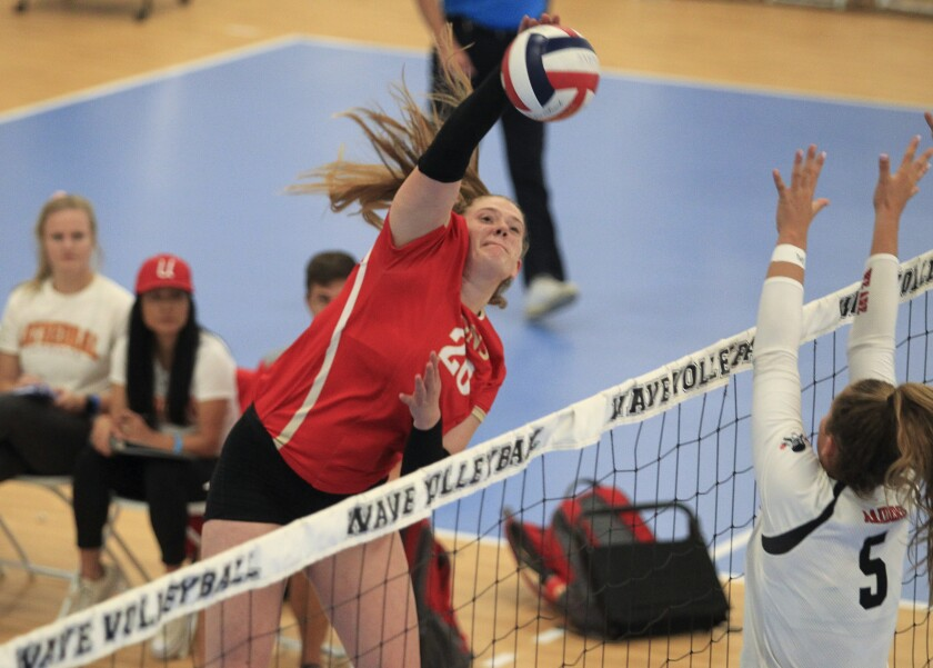 Cathedral Catholic's Maddie Endlsey (shown in an earlier match) led the Dons with 17 kills in Tuesday's win over La Jolla.