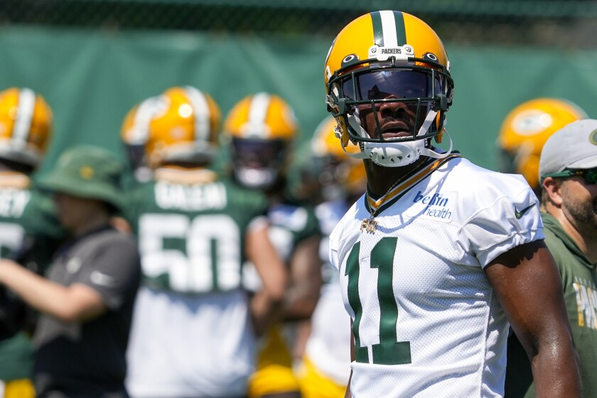 Green Bay Packers' Devin Funchess watches a drill during an NFL football minicamp Tuesday, June 8, 2021, in Green Bay, Wis. (AP Photo/Morry Gash)