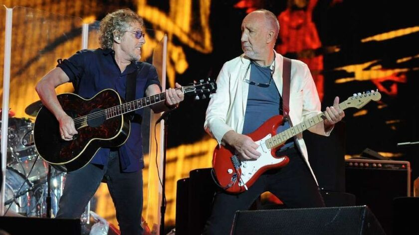 The Who's Roger Daltrey (left) and Pete Townshend, both 74, are set for a 29-major North American concert tour that begins in May.
