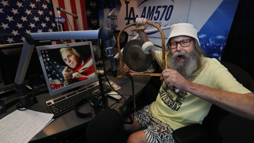 """BURBANK, CA-NOVEMBER 29, 2018: Radio sports announcer Vic """"The Brick"""" Jacobs is photographed inside"""