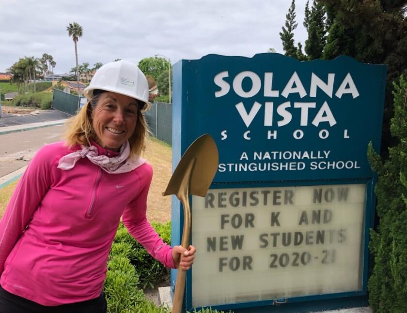Solana Beach School District board clerk Gaylin Allbaugh helped break ground at Solana Vista.
