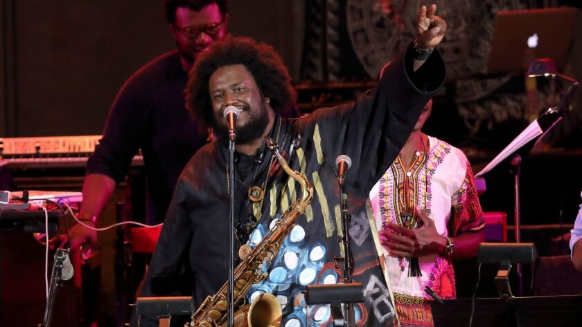 Kamasi Washington ends his set at the Hollywood Bowl on Wednesday night.