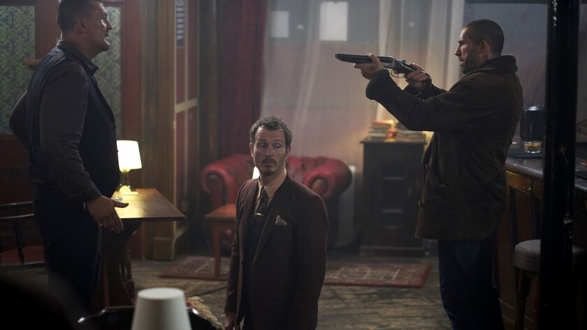 (L-R)- Craig Fairbrass as Lincoln Burgess, Nick Moran as Hyde, and Scott Adkins as Cain Burgess in S