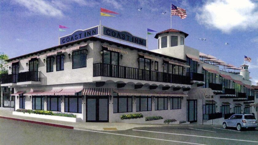 The Laguna Beach City Council voted Wednesday to let two council members address concerns on a plan to revamp the Coast Inn property, pictured in this rendering. The owners want to add new restaurants and a rooftop bar.