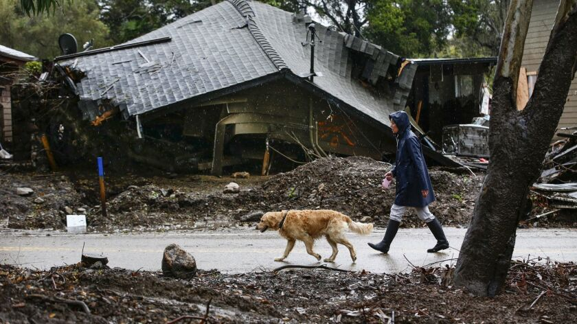 Loreen Zakem walks her dog past one of the homes destroyed in a January debris flow along Montecito Creek.