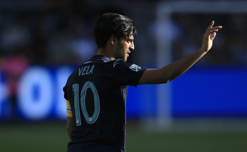 Carlos Vela gestures during a match between LAFC and the Seattle Sounders.