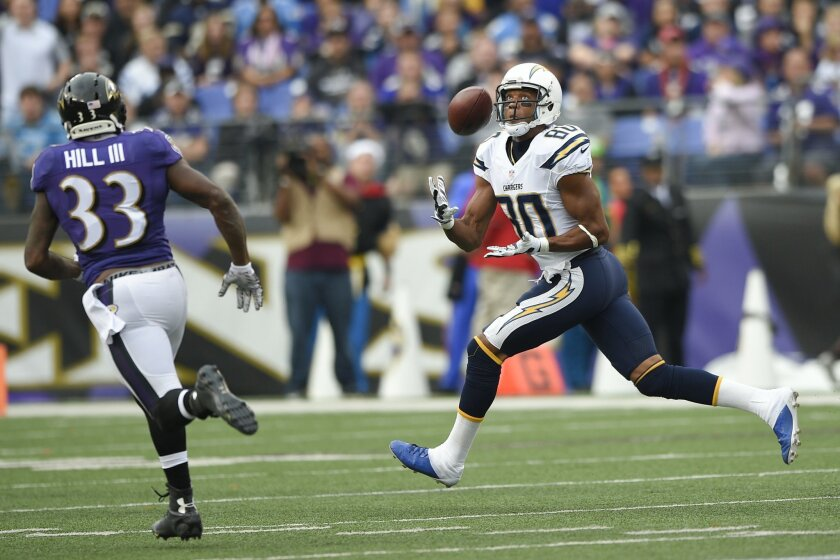 Malcom Floyd pulls in a touchdown pass as Baltimore Ravens strong safety Will Hill (33) gives chase in a game last month. (AP Photo/Nick Wass)